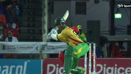 Ramdin smashes four sixes in a row