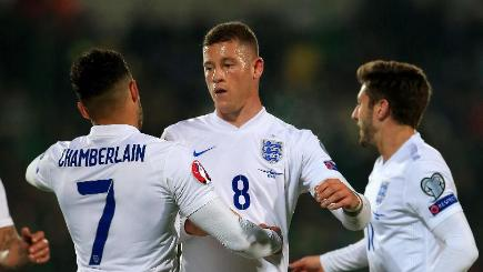Ross Barkley, centre, opened the scoring for England
