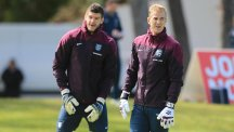 Southampton goalkeeper Fraser Forster, left, believes England's number one Joe Hart is one of Europe's best