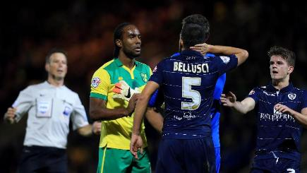 The FA are investigating an allegation from Norwich's Cameron Jerome (second left) that he was racially abused by Leeds defender Giuseppe Bellusci (second from right)