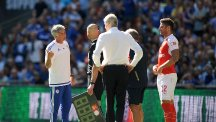 "Jose Mourinho, left, called the Wembley pitch ""a disaster"" after the Community Shield defeat to Arsenal."