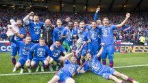 Inverness celebrate with the trophy