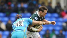 Jon Fisher, centre, has joined Northampton Saints after leaving London Irish in the summer