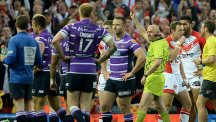 Wigan prop Ben Flower, second left, has been found guilty of gross misconduct by his club