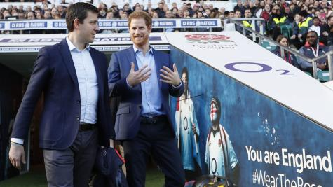 Football chat for RFU patron Harry as rugby stars put through their paces