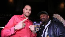 Tyson Fury, left, took a vow of silence ahead of his fight against Dereck Chisora, right