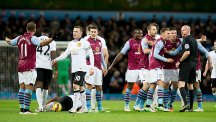 Gabriel Agbonlahor is sent off during Aston Villa's 1-1 draw with Man Utd