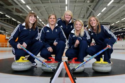 Great Britain's curling team of, left to right, Claire Hamilton, Vicki Adams, Anna Sloan and Eve Muirhead with coach Rhona Howie, rear