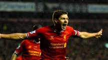 Gerrard celebrates after Everton goal