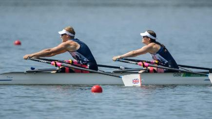 Great Britain's Laurence Whitely and Lauren Rowles won gold in the double sculls