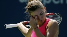Simona Halep was dumped out of the US Open (AP)