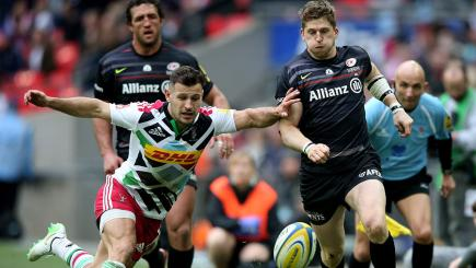 Harlequins' Danny Care and Saracens' David Strettle