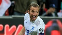 Harry Kane celebrates scoring on his England debut against Lithuania on Friday night