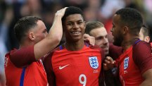 Marcus Rashford is congratulated after his early goal