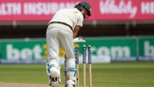 Australia captain Michael Clarke, pictured, is bowled by Steven Finn