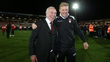 Eddie Howe, right, has guided Bournemouth to promotion to the Premier League