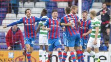 Inverness celebrate after Alex Fisher, centre right, scored their late equaliser