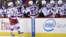 Jimmy Vesey celebrates with his New York Rangers team-mates (AP)