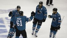 Justin Braun was among the scorers for the San Jose Sharks (AP)