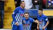 Kilmarnock's Kris Boyd, pictured left, opened the scoring against his old club Rangers