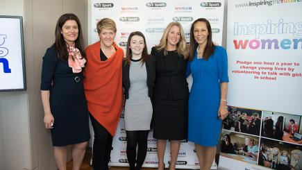 (L-R) Miriam Gonzalez, BT Sport's Clare Balding, Basildon Upper Academy student Megan Johnson, Delia Bushell and Minister for Sport Helen Grant.