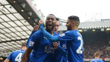 Leicester celebrate Wes Morgan's equaliser at Old Trafford