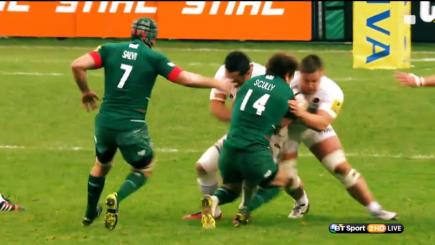 Leicester Tigers' Blaine Scully is on the receving end of a big hit