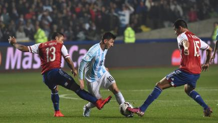 Lionel Messi in action against Paraguay