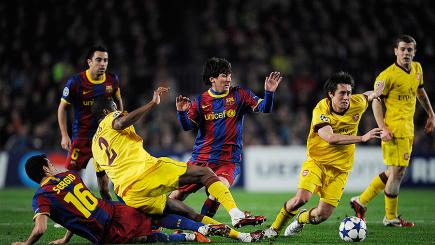 Lionel Messi strutting his stuff against Arsenal in 2011