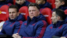 Manchester United manager Louis van Gaal, centre, is facing a fight to claim a Champions League place