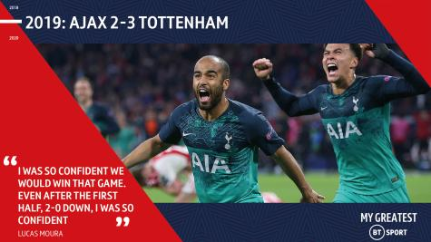 Lucas Moura celebrates with Tottenham team-mate Dele Alli after scoring his hat-trick against Ajax in the Champions League semi-final