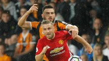 Luke Shaw, front, has quickly put last season's injury nightmare behind him