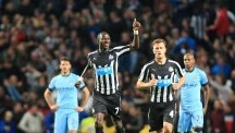 Newcastle United's Moussa Sissoko scored his side's second goal against Manchester City