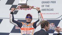 Marc Marquez celebrates his Grand Prix victory in Austin