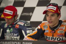 Marc Marquez faces the press after his win in Qatar