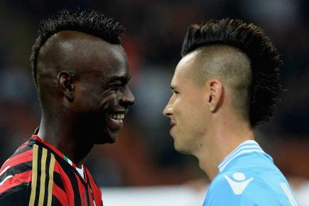 Mario Balotelli and Marek Hamsik