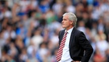 Mark Hughes, pictured, was not happy with the display of referee Michael Oliver