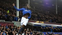Everton's Romelu Lukaku celebrates scoring his side's second goal of the game against Young Boys