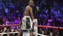Floyd Mayweather celebrated another victory in Las Vegas (AP)