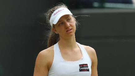 Mona Barthel fell at the first hurdle in Quebec
