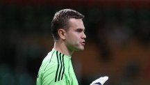 Russia goalkeeper Igor Akinfeev was struck by a flare