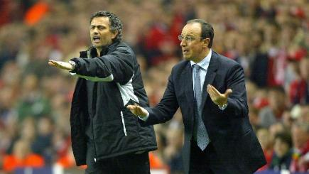 Jose Mourinho, left, and Rafael Benitez, right, regularly sparred during the Spaniard's spell at Liverpool