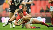 Wales international Danny Jones, pictured with the ball, has been laid to rest