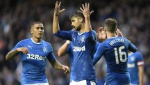 Rangers' Niko Kranjcar, centre, scored his first goal for the club against Stranraer