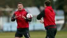 Sam Burgess, left, is giving his all to his rugby union switch