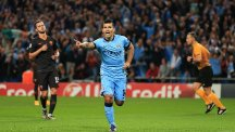 Sergio Aguero celebrates opening the scoring
