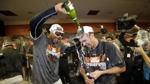 Baltimore Orioles players celebrate their title win (AP)
