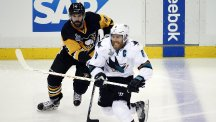 San Jose Sharks' Joe Pavelski skates past Pittsburgh Penguins' Justin Schultz (AP)