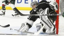 Jonathan Quick helped the Kings secure a 2-1 win over Minnesota at Staples Center (AP)