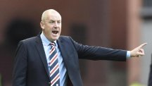 Rangers manager Mark Warburton, pictured, has laughed off talk of an imminent swoop for Robin van Persie